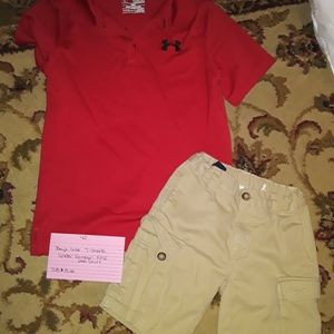 Boys size 7 shorts , Under Armour YMD polo shirt
